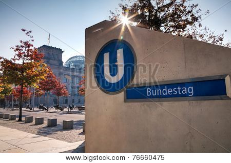 Bundestag Underground Sign In Berlin