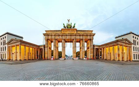 Brandenburg Gate Panorama In Berlin, Germany