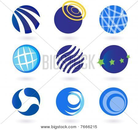 Abstract globes, spheres, circles earth vector icons - blue