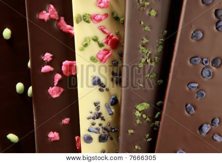 Hand-made chocolate bars (with candied petals)
