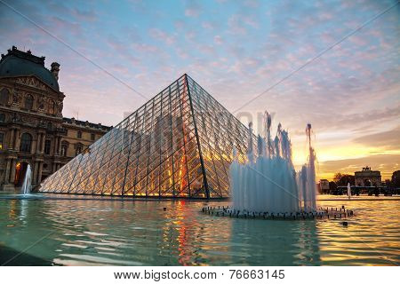 The Louvre Pyramid In Paris At Sunset