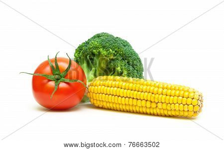 Broccoli, Corn And Tomato Isolated On White Background