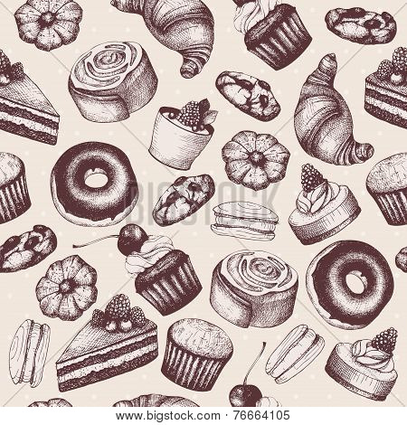 hand drawn breads and pastries illustration
