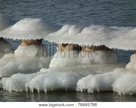 The posts breakwater frozen covered with ice cap. Winter on the coast