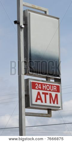 24 Hour Atm Sign With Blank Space