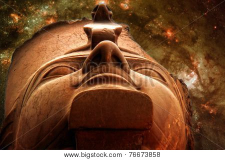 Ramses Ii And Galaxy M83 (elements Of This Image Furnished By Na