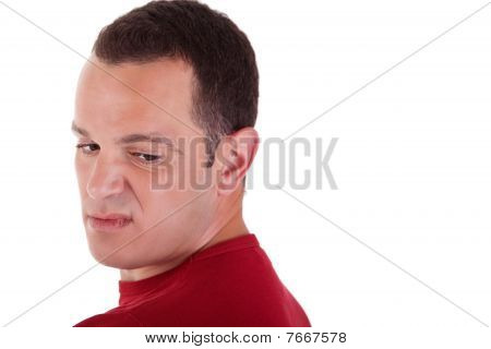 Man To Turn Around, Looking With Contempt, Isolated On White Background. Studio Shot.