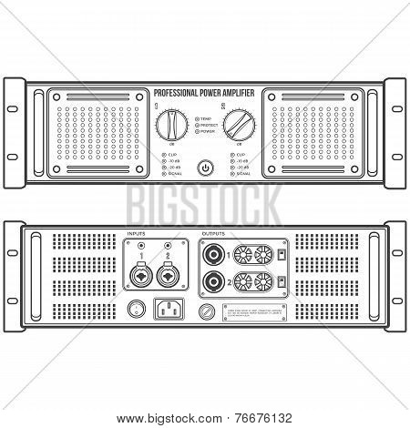 outline speaker amplifier device vector