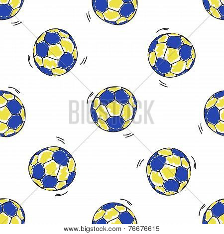 Seamless pattern with handball balls