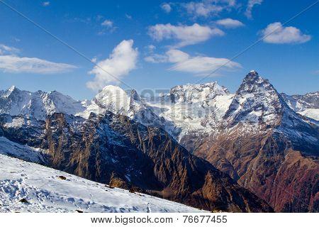 Landscape Of Mountains Caucasus Region In Russia