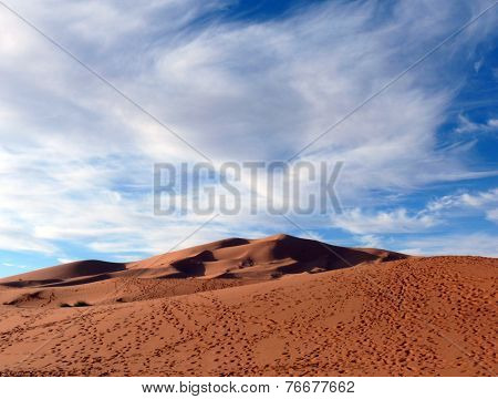 Footsteps In Sahara Desert Dunes