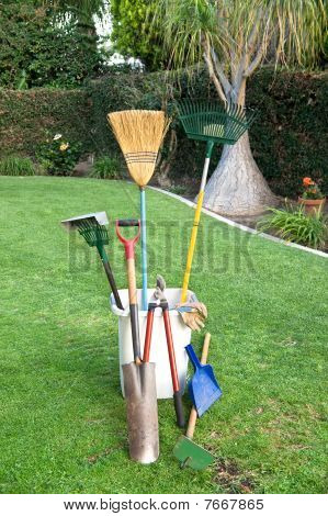 Gardening Tools On Grass