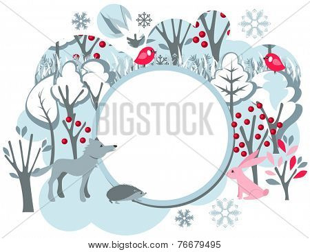 Festive banner with winter forest landscape and wild animals - wolf,fox, hedgehog and hare