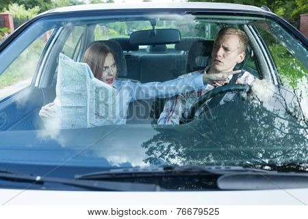 Couple Fighting Over Driving Directions