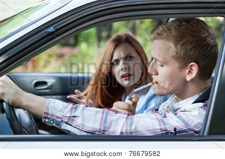 Couple Argue Over Car Smoking