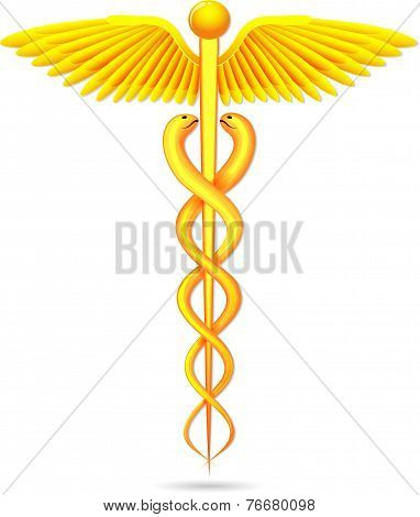 medical symbol gold caduceus