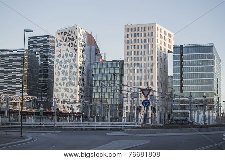 Modern Buildings In Downtown Oslo
