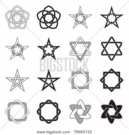 Celtic Knots Stars Patterns Set