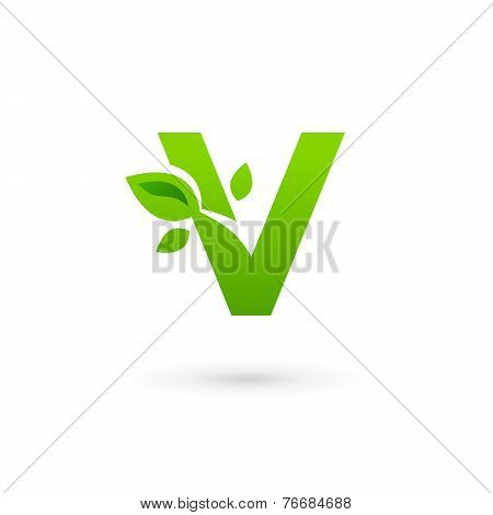 Letter V Eco Leaves Logo Icon Design Template Elements