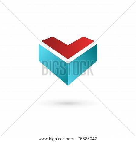 Business Design Template Logo Icon With Letter V And Heart