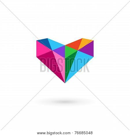 Diamond Logo Icon Design Template With Letter V And Heart