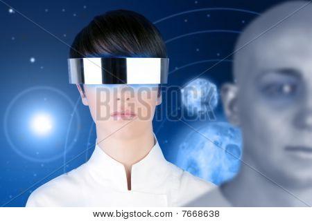 Silver Futuristic Glasses Woman Space Planets