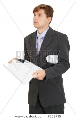 Engineer Holding Drawing On White Background