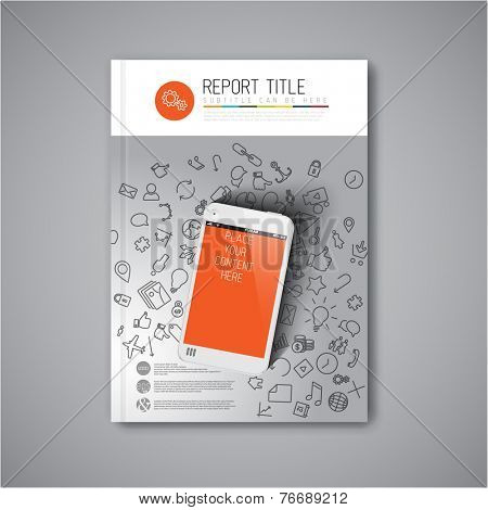 Modern Vector abstract brochure / book / flyer design template with smartphone