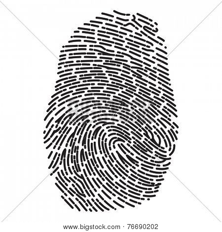 Black Dashed Line High Detailed Finger Print
