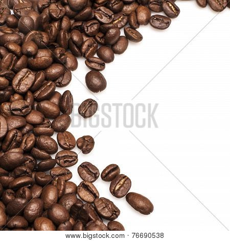 Roasted Coffee Beans background isolated on white background