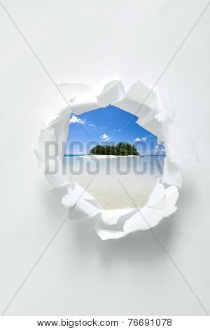 White paper hole with Maldivian tropical beach scenery