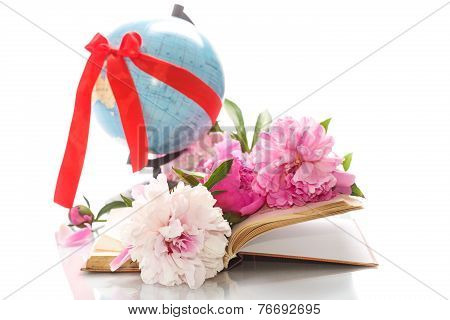 Pink Peonies In The Open Book And Globe
