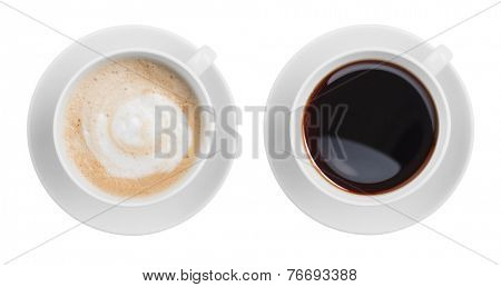 cappuccino and black espresso coffe cup top view isolated
