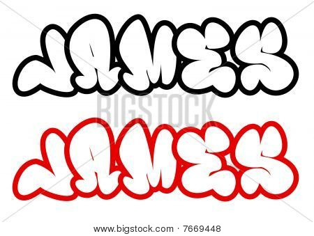 the name James in graffiti style funny bubble fonts
