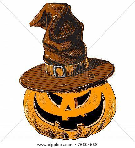 Halloween pumpkin in magic witch hat