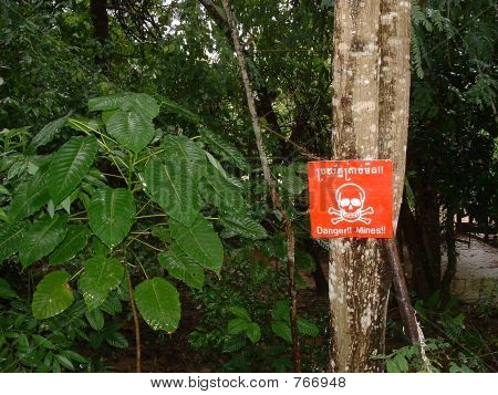 Warning Land Mine Sign in Cambodia