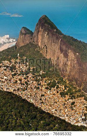 Rio de Janeiro Mountains, Urban Aereas, Ocean in the Horizon