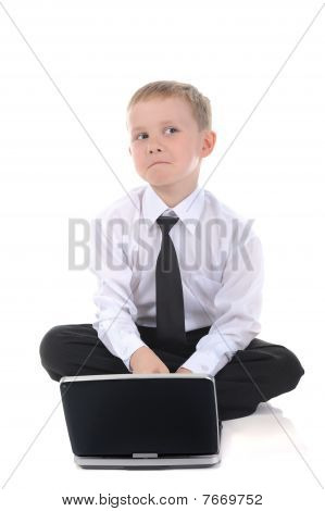 Little Businessman With A Laptop