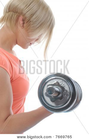 Beautiful Girl Athlete Dumbbell