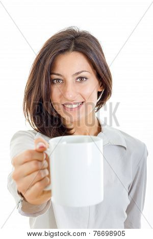Casual Pretty Woman Offered White Cup Of Coffee Or Tea To You Or To Camera
