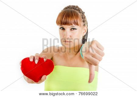 Disappointed Young Woman Sadly Holding Heart Showing Thumb Down