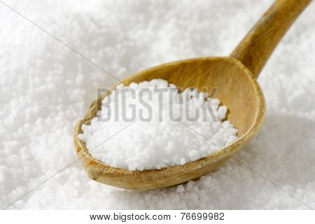 coarse grained sea salt with the wooden teaspoon