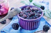 picture of blackberries  - jam from fresh blackberry and sugar, fresh blackberry jam ** Note: Shallow depth of field - JPG