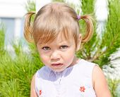 image of ponytail  - portrait of toddler girl with ponytail hairstyle - JPG