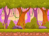 image of planting trees  - Seamless cartoon forest landscape - JPG
