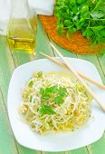 picture of soybean sprouts  - salad with bean sprouts on the plate - JPG