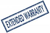 image of extend  - extended warranty blue square stamp isolated on white background - JPG