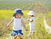 stock photo of rape-field  - happy toddlers are in the field of rape - JPG