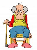 image of grandpa  - Nice elderly Grandpa is sitting on a small stool - JPG