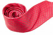 stock photo of red-necked  - red with green dots business neck tie isolated on white background - JPG